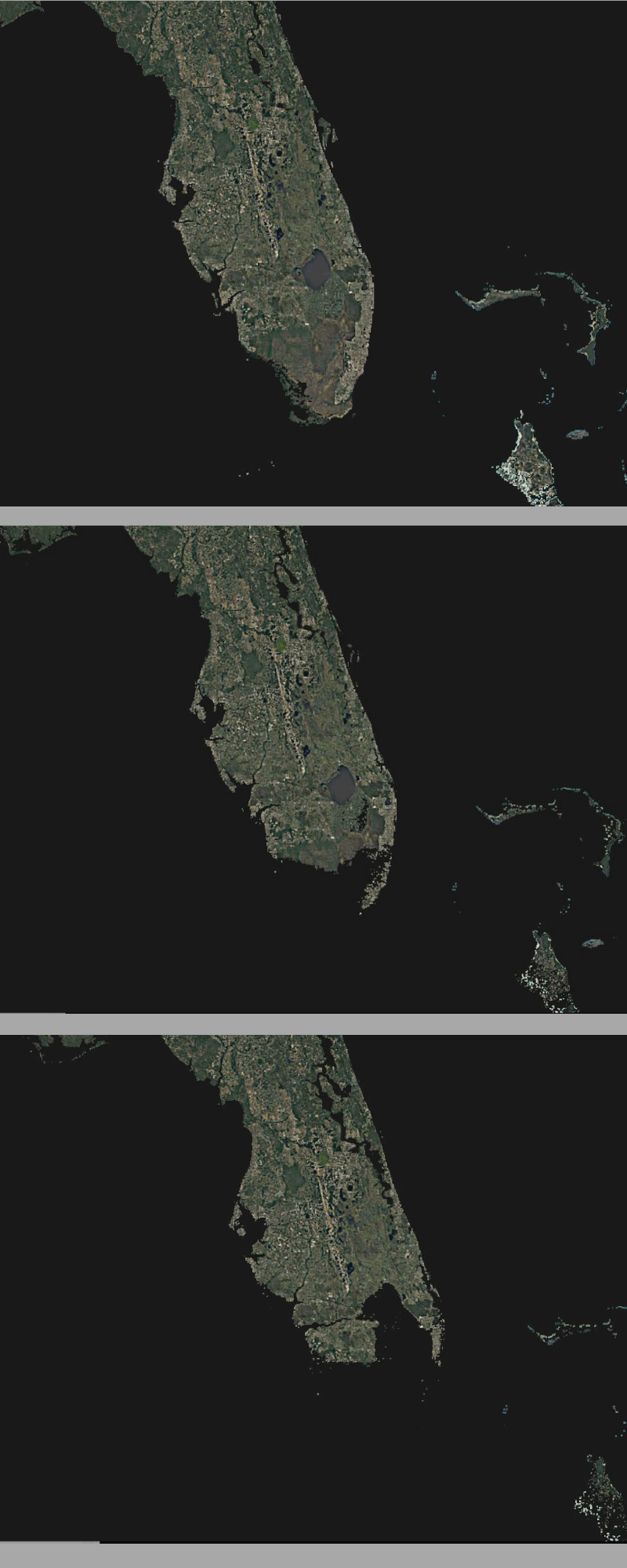 Time-lapse graphic of Florida going under water due to sea rise caused by climate change.