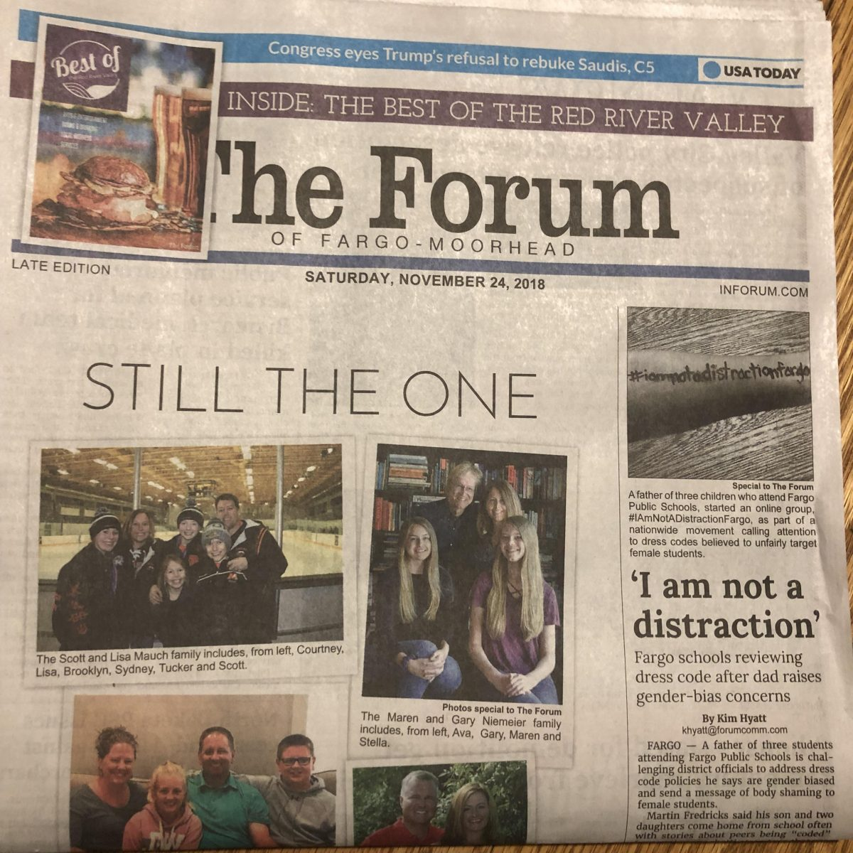 Photo of front page of The Forum, 11/24/18, which features a story on body shaming.