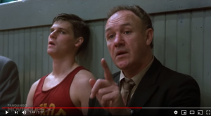 "Screenshot of scene from ""Hoosiers"" to illustrate UND hockey post"