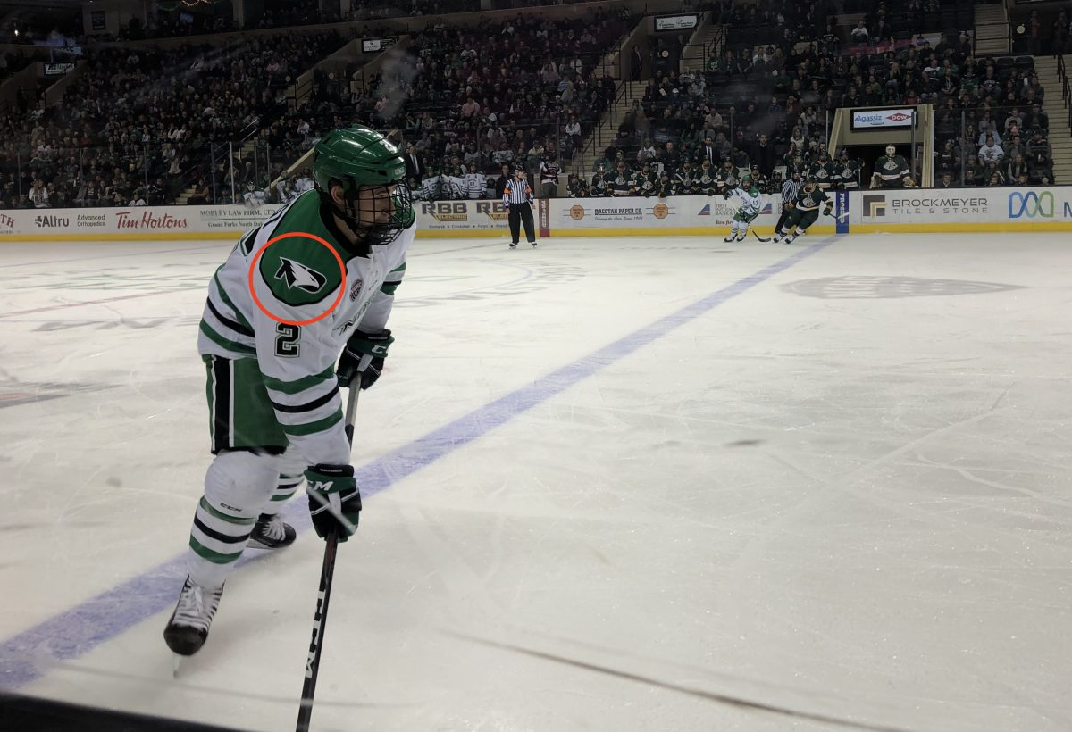 Photo of UND hockey player, 11/24/18