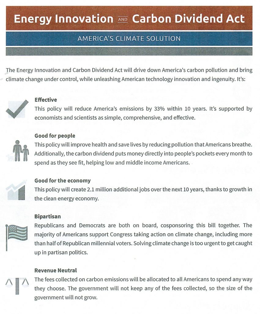 Image of Citizens' Climate Lobby handout about the Energy Innovation and Carbon Dividend Act for addressing climate change