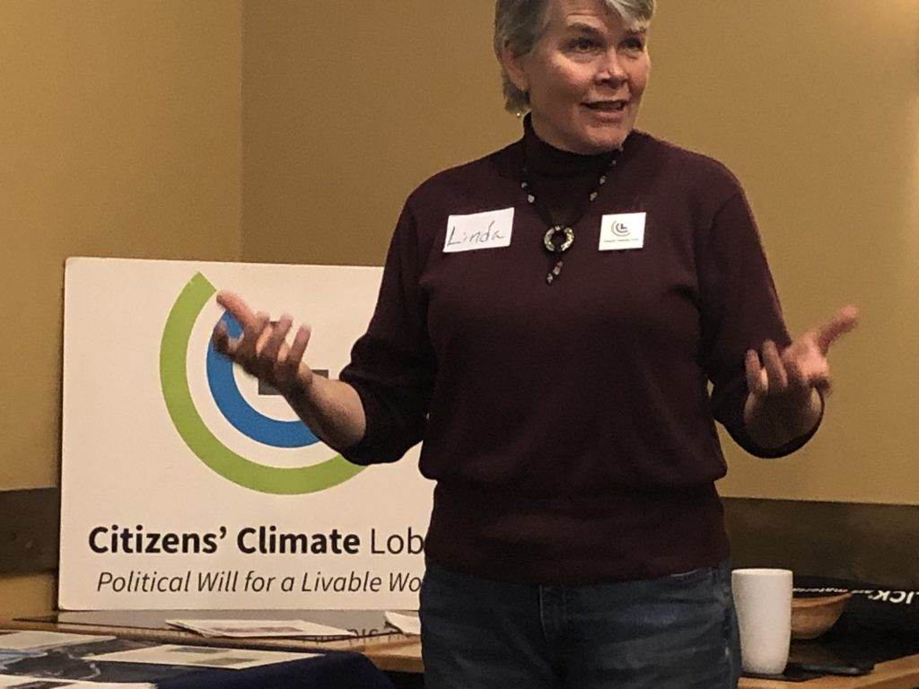 Photo of Linda Kingery of the Citizens' Climate Lobby chapter in Bemidji, Minn., discussing climate change