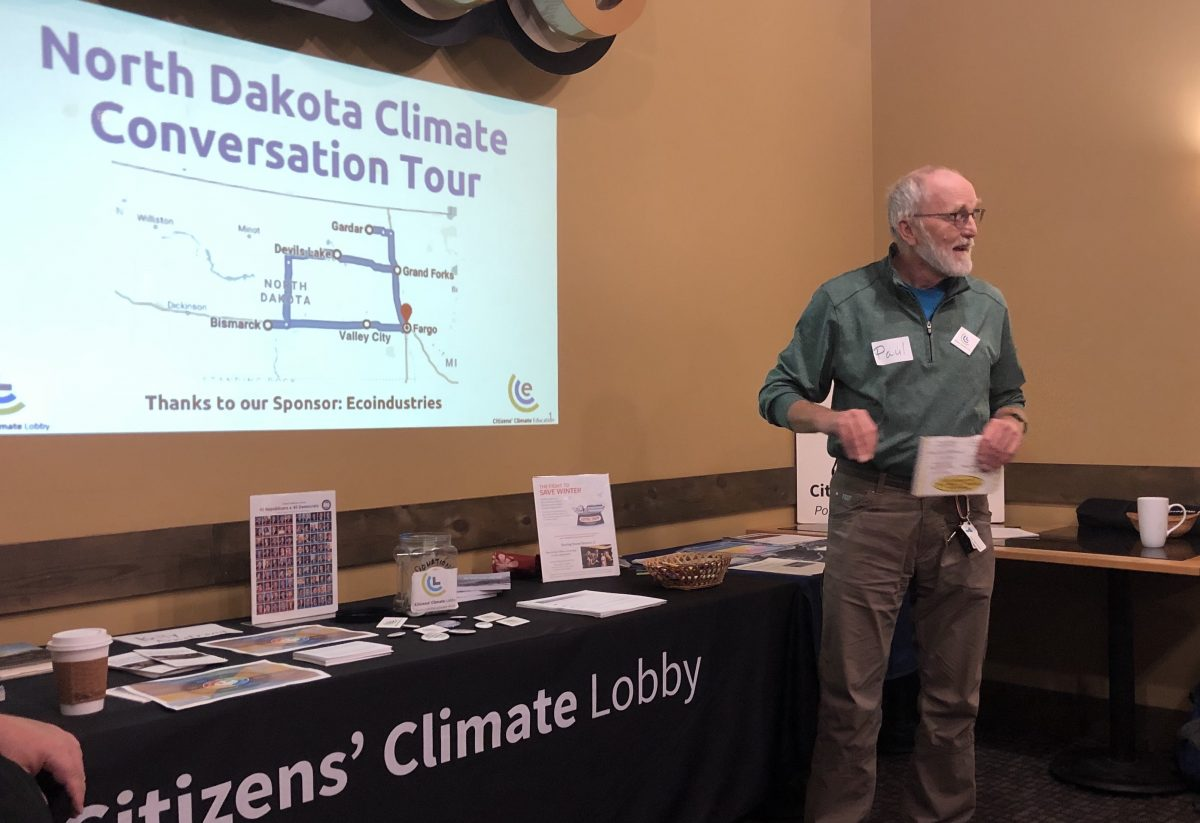 Photo of Paul Thompson, North Winds Regional Coordinator for the Citizens' Climate Lobby discussing climate change