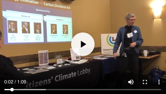 Image of Mindy Ahler presenting on climate change and the Citizens' Climate Lobby