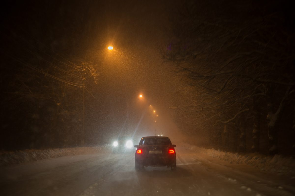 Image of cars in blizzard conditions