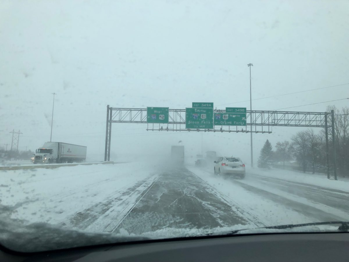 Picture of vehicles on I-94 during near whiteout and cold conditions