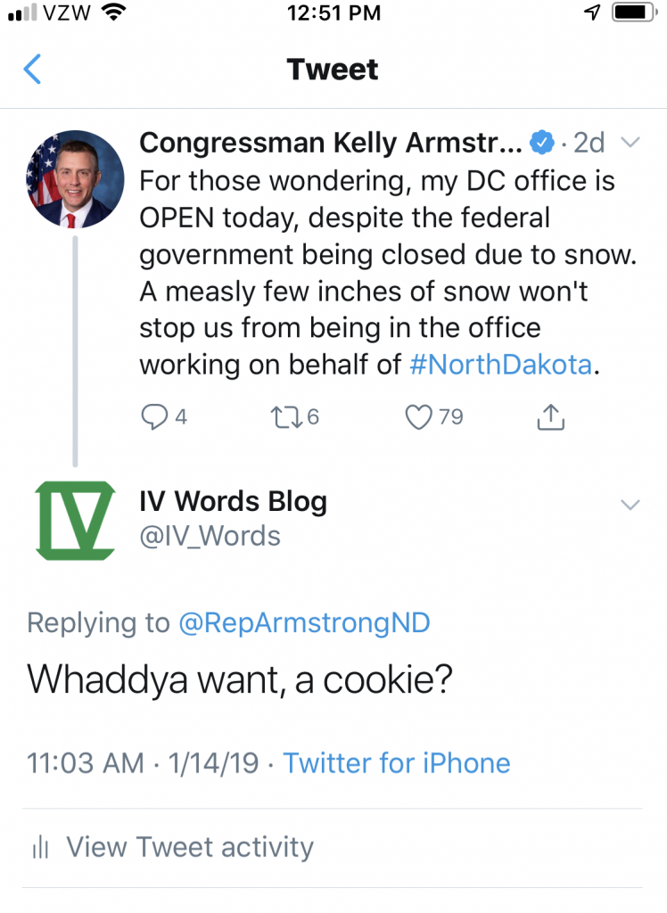 Screenshot of Twitter exchange with ND Congressman Kelly Armstrong