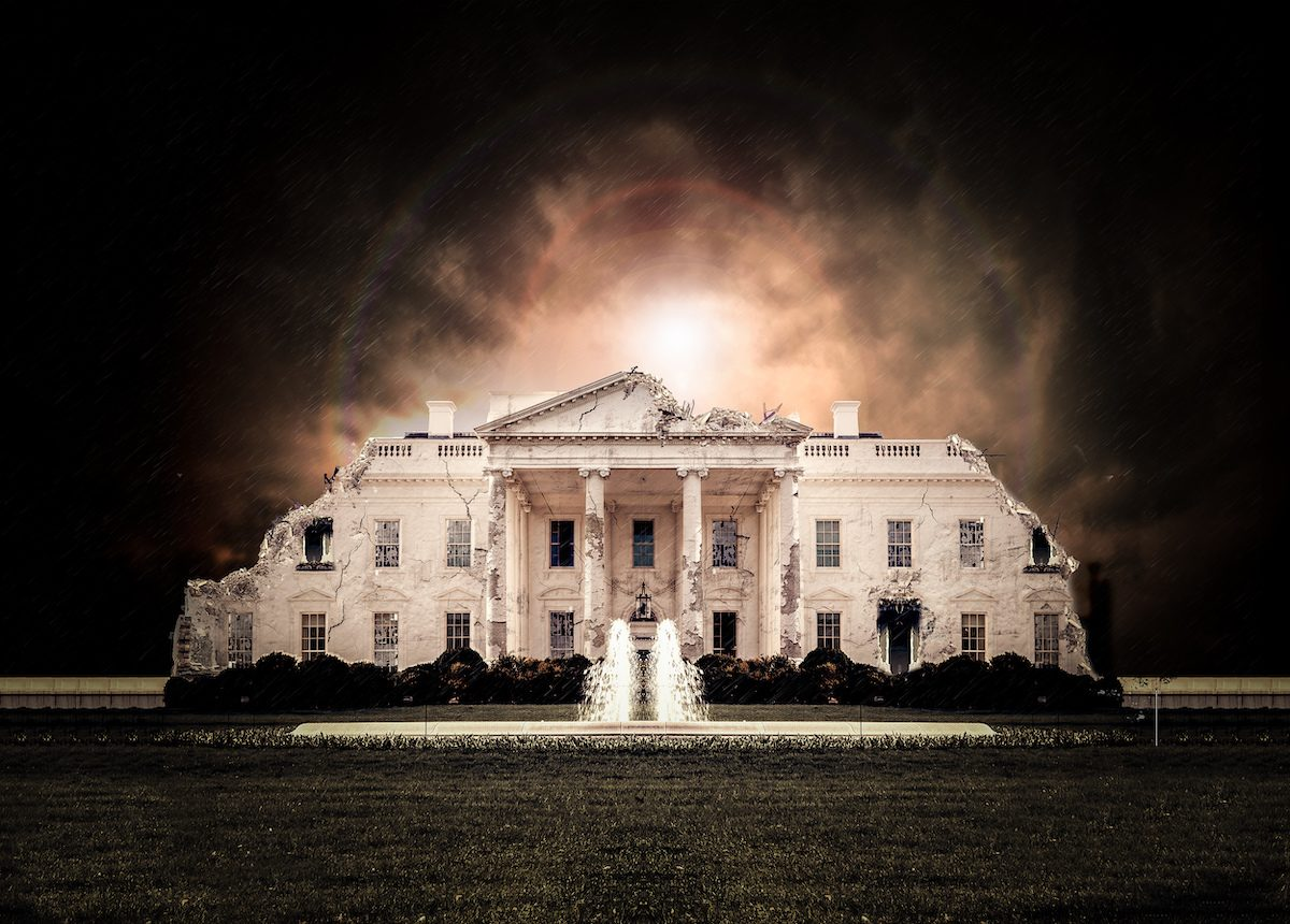 Graphic of a crumbling White House that will host NDSU Bison football team.