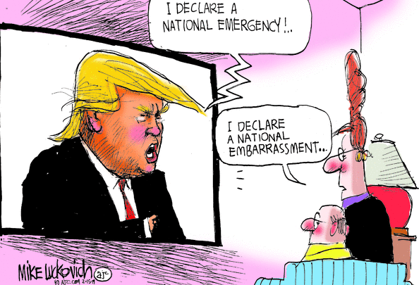 "Political cartoon of woman watching Trump on TV. She says, ""I declare a national embarrassment..."""