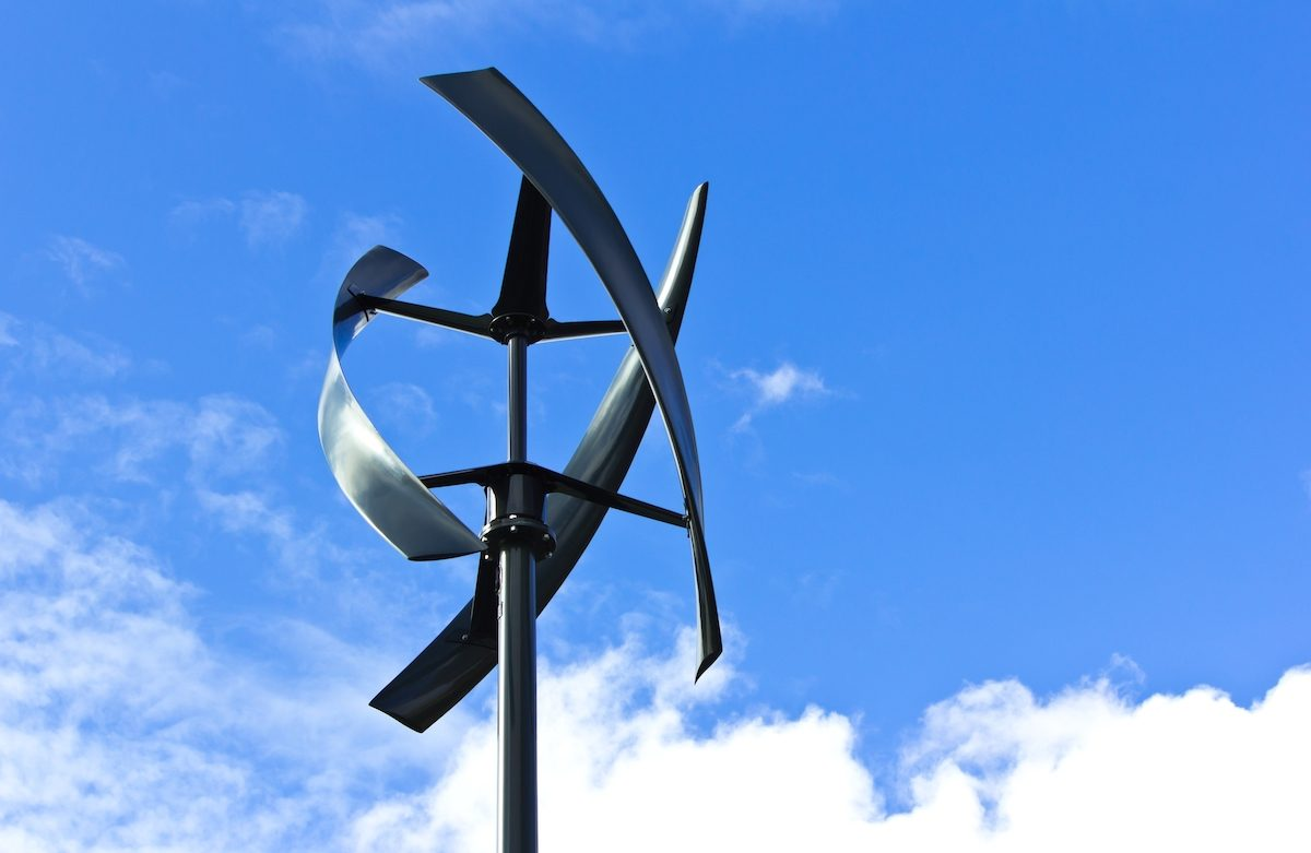 Picture of a vertical axis wind turbine that could be used in a program for net metering electricity.