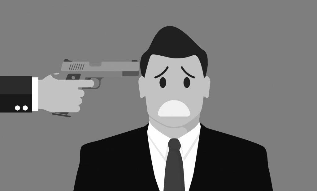 """Graphic of man with a gun held to his head. To accompany """"The Ol' Engelstad Gun-to-the-Head Maneuver. Again."""" post"""