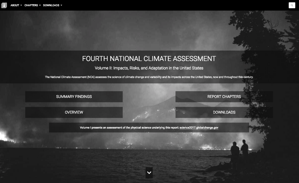 Image of U.S. scientists' homepage for the climate change report