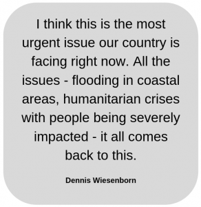 Graphic of quote about Climate Crisis from Dennis Wiesenborn