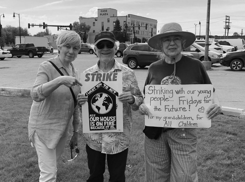 Picture of Amy Phillips, Dan Rice and Donna Clark at the Fargo Climate Crisis Strike