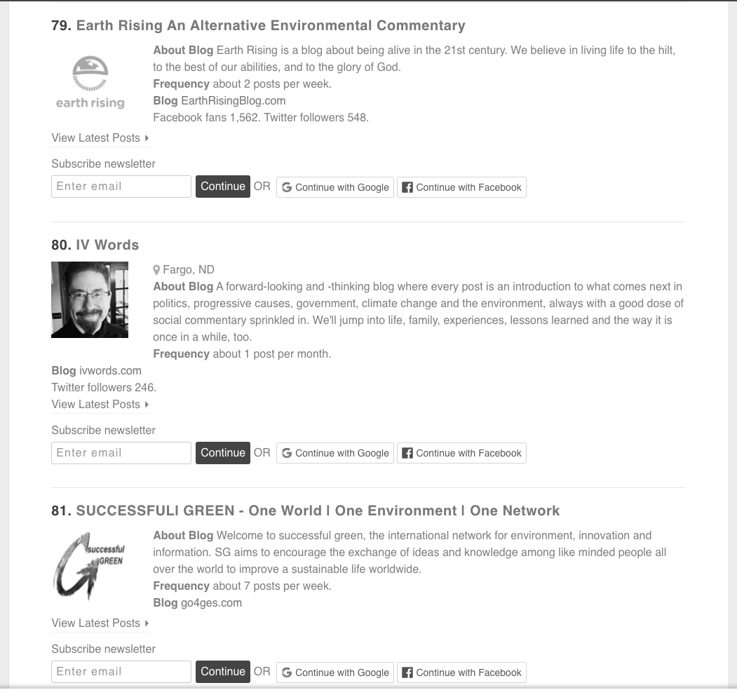 Screenshot from Feedspot.com list of Top 100 Environmental Blogs