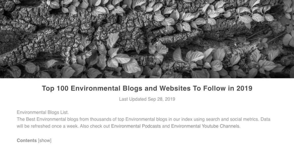 #80 in Environmental Blogs, IV Words. What the Heck. Why Not?