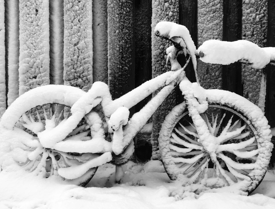 Image of a bicycle covered in snow from October 12, 2019