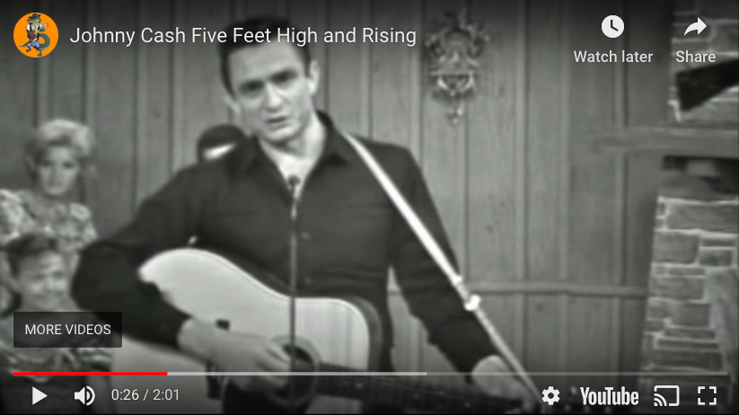 "Video of Johnny Cash singing ""Five Fee High and Rising,"" to accompany climate crisis post"