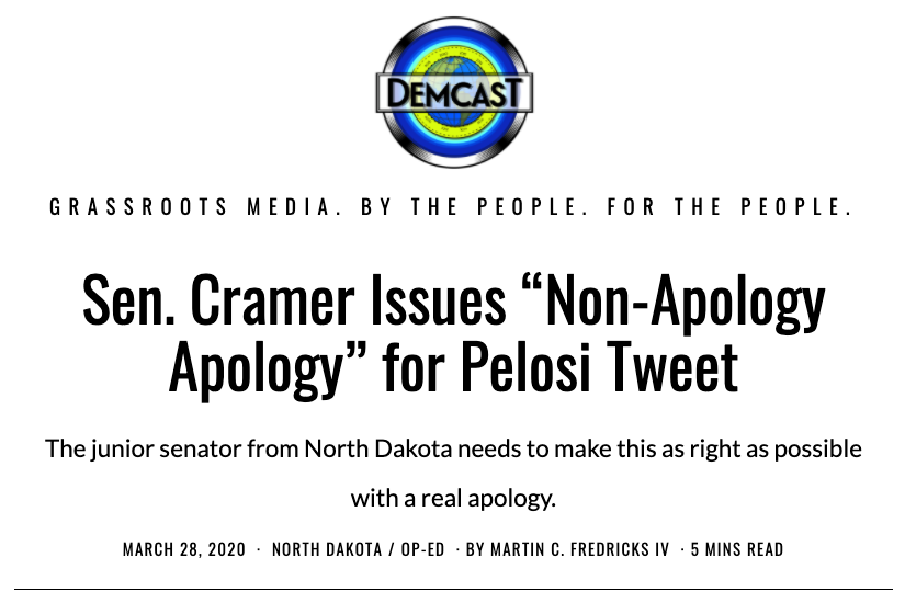 DemCastUSA.com headline for Cramer Non-Apology post on IV Words