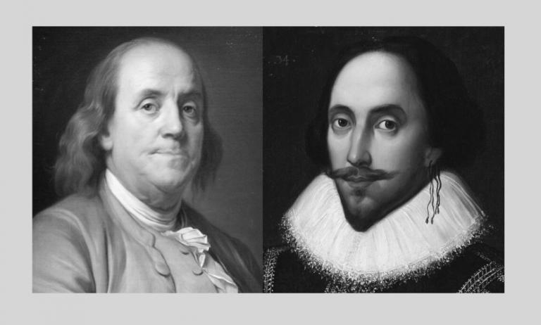 Images of Benjamin Franklin & Wm. Shakespeare for coronavirus post
