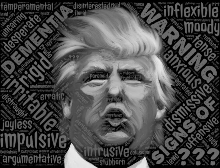 Graphic of insane President Donald J. Trump