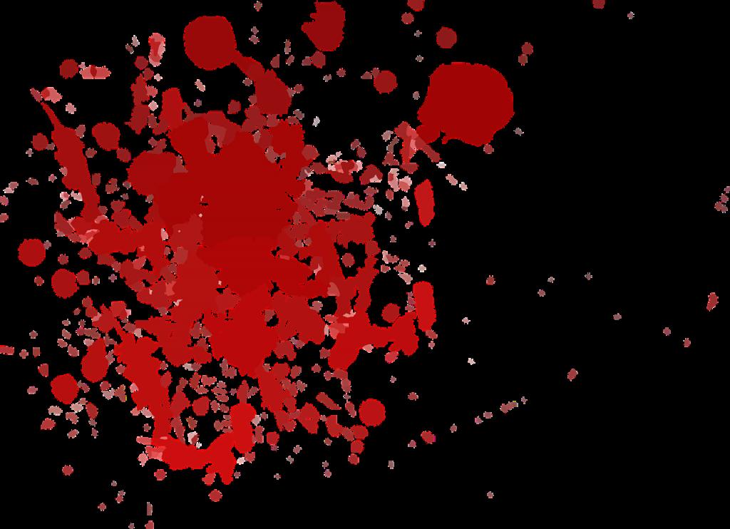 Red paint splotch on white background