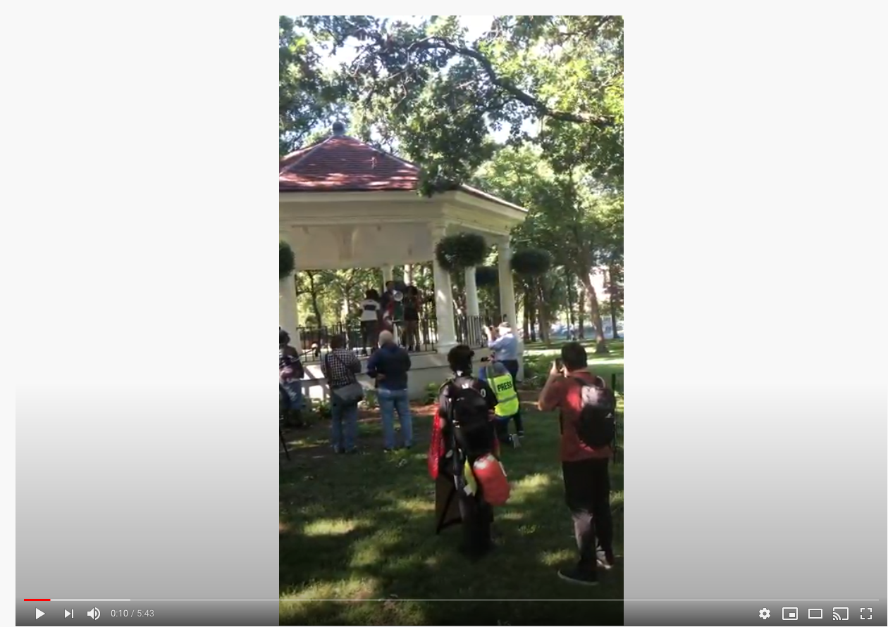 Screenshot from video of Wess Philome during #Juneteenth protest, Fargo, N.D.