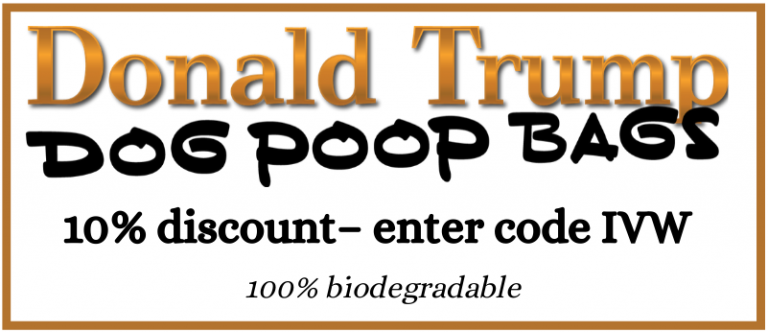 IV Words - Donald Trump Dog Poop Bags logo - biodegradable
