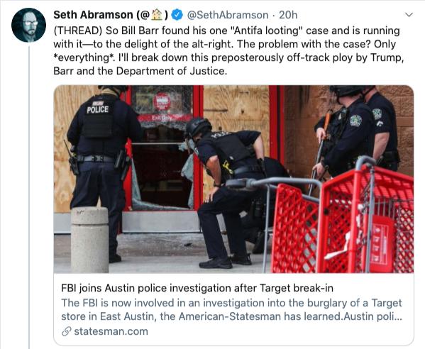 Screenshot of Seth Abramson Twitter post re: #BlackLivesMatter
