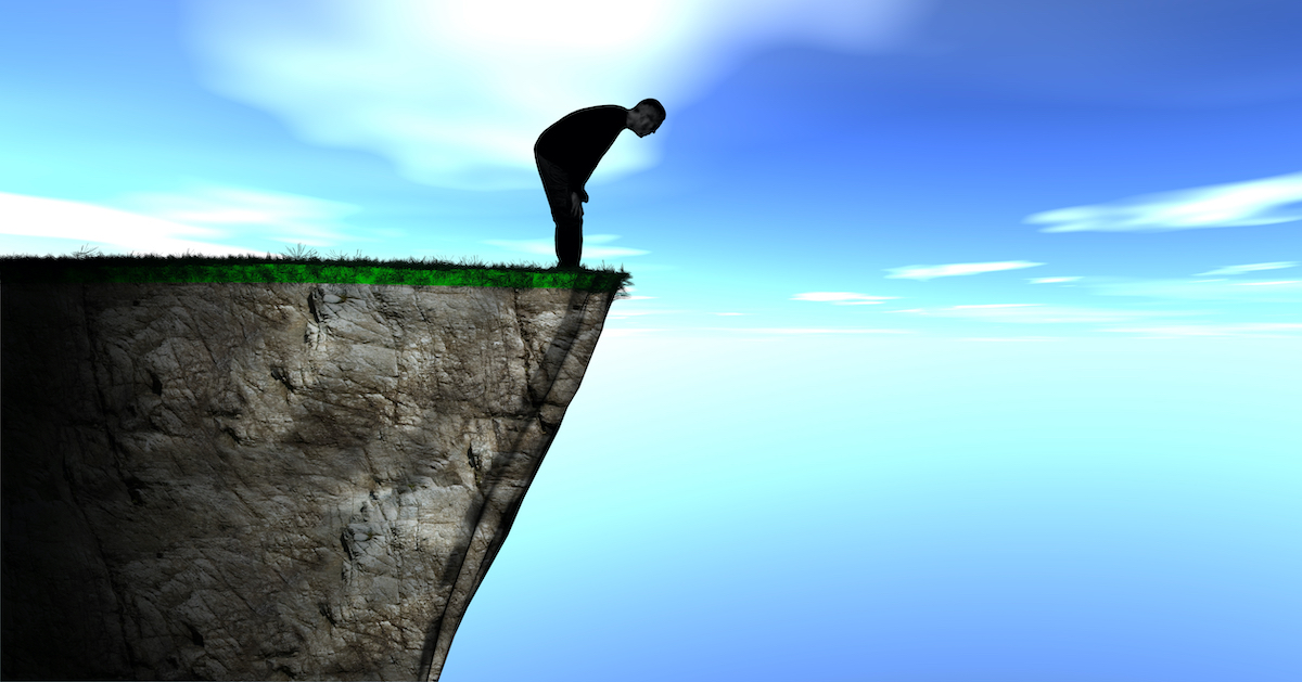 Graphic of man bent over, looking into the abyss below a cliff