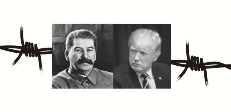 Graphic of Stalin and Trump over barbed wire