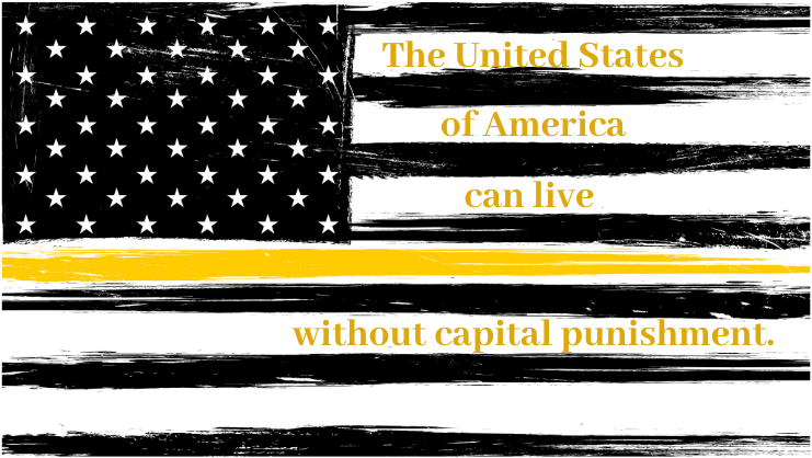 Graphic - black & yellow USA flag - capital punishment
