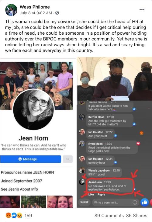 Screenshot of racist comment