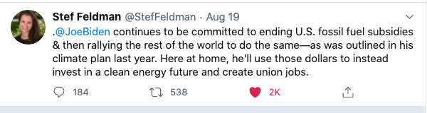 Tweet from Biden campaign reaffirming commitment to end fossil fuel subsidies