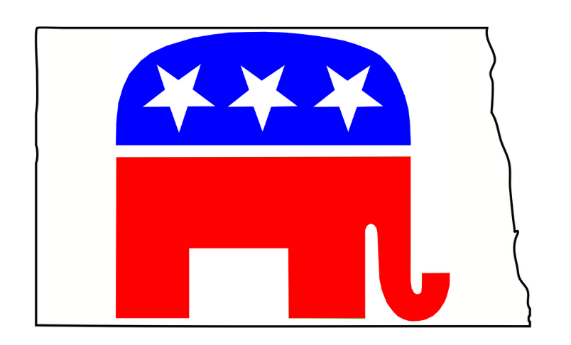 Graphic shows outline of N.D. and GOP elephant within it
