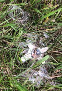Photo of a broken glass beer bottle