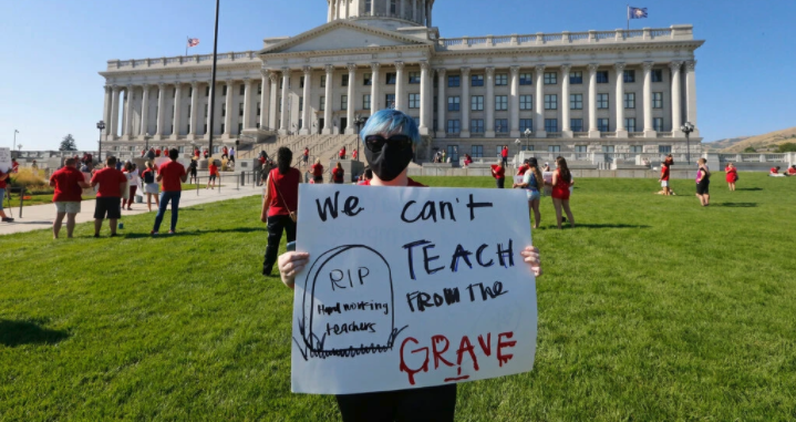 Utah teacher protests school reopenings amidst coronavirus pandemic