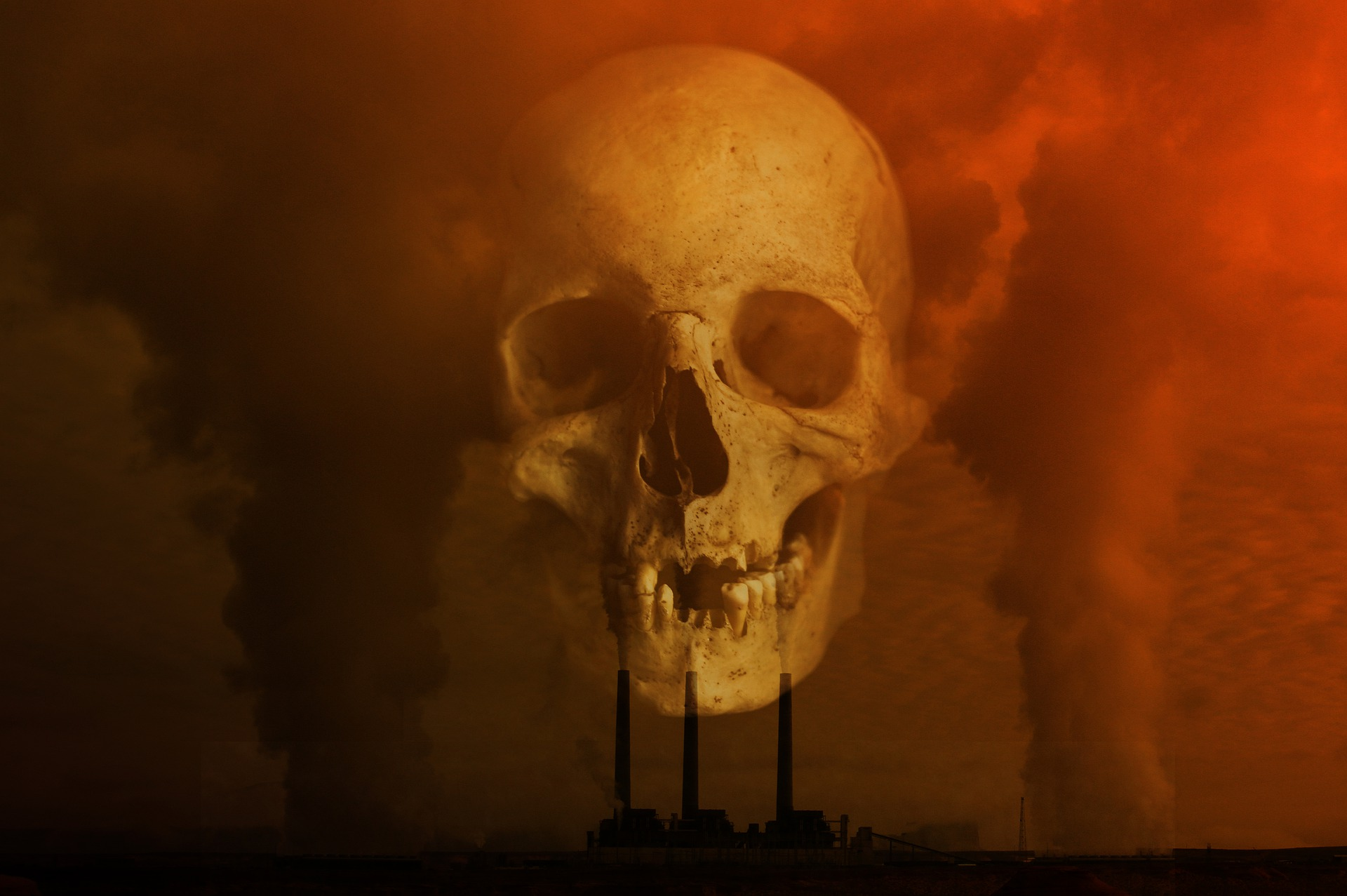 Image of pollution and a superimposed scull to illustrate fossil fuels