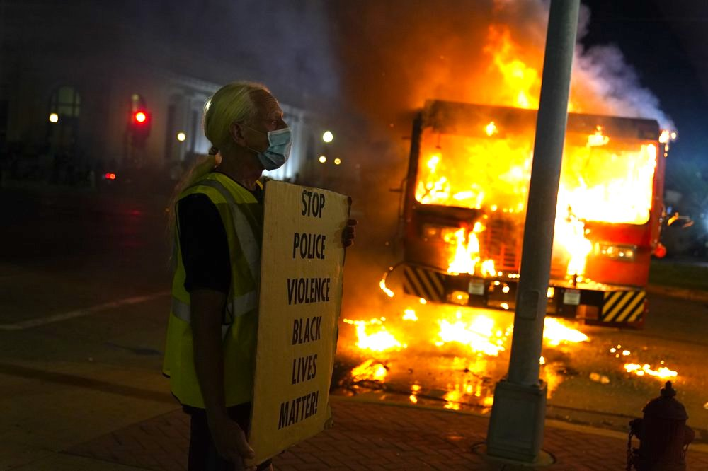 Protest-turned-riot photo by AP