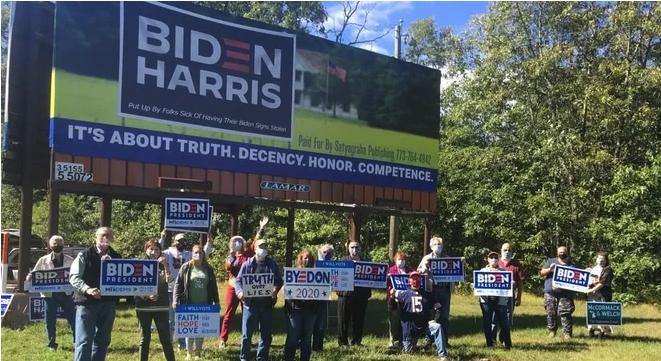 Photo of Biden/Harris billboard erected by Marshall Stern