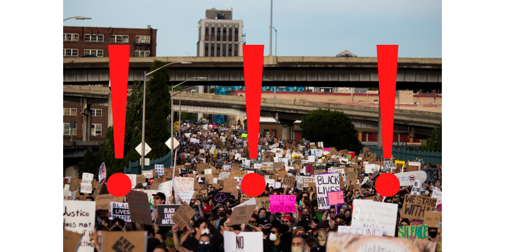 Graphic of protest with red exclamation points superimposed