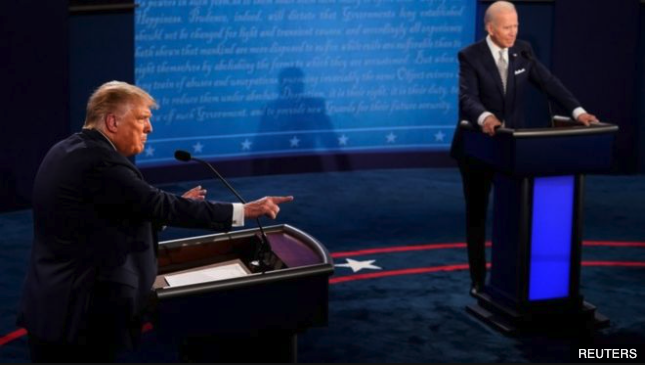 Donald Trump vs. Joe Biden debate photo