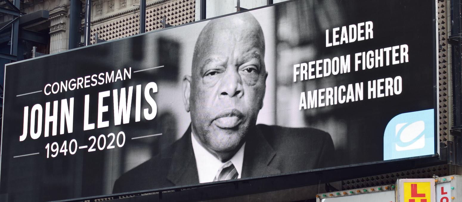 Photo of billboard, Rep. John Lewis, advocate for right to vote