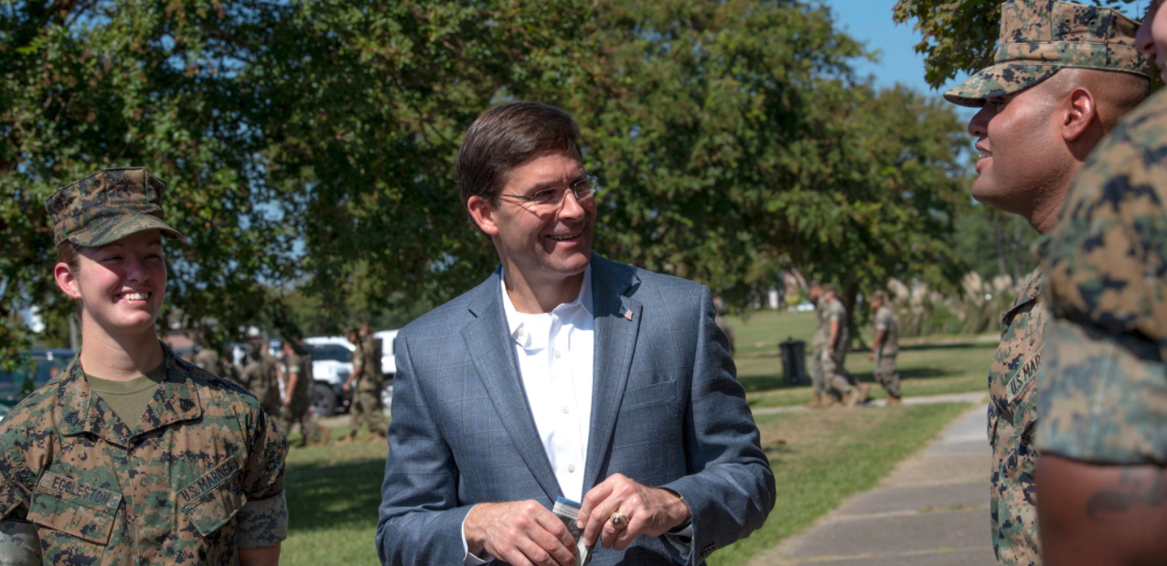 Image of Sec. of Defense Mike Esper speaking with military members