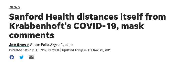 Sioux Falls Argus Leader headline re: Sanford CEO Covid comments