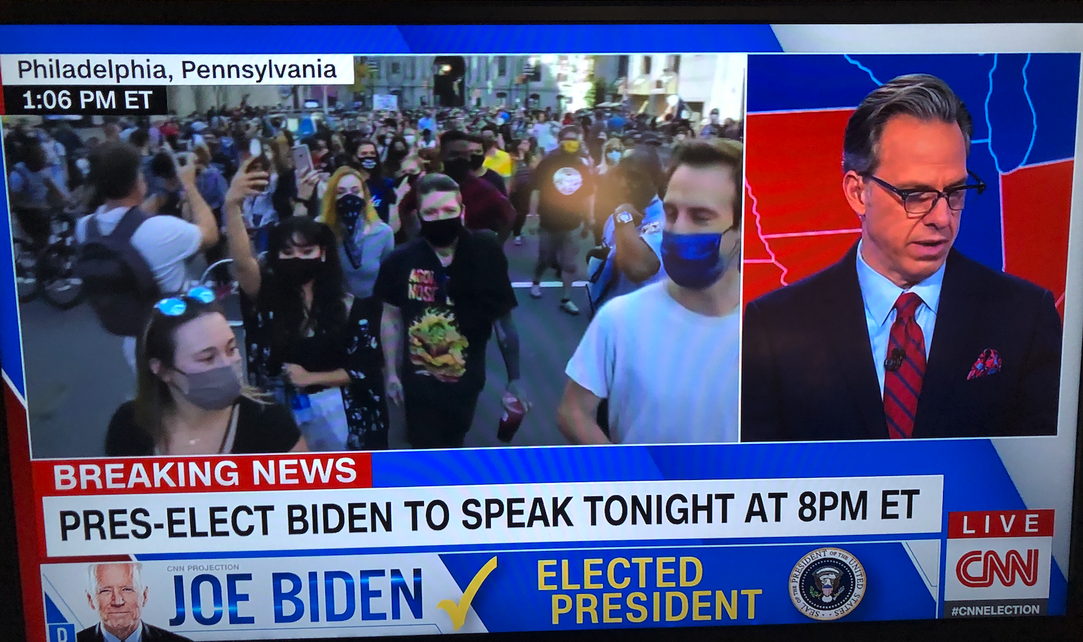 Photo of TV featuring CNN on Election Day 2020