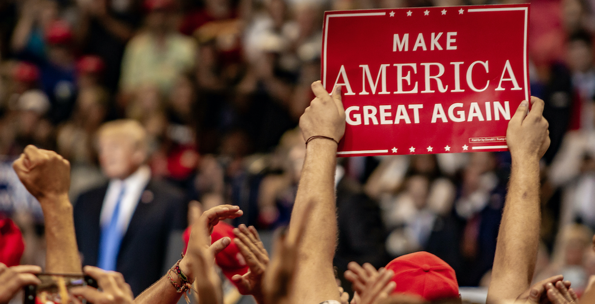 MAGA rally, photo by Brandon Stivers via shutterstock