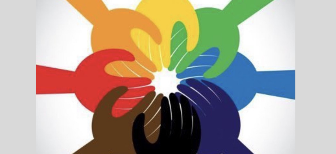 graphic of different colored hands meeting in a circle to represent anti-bias