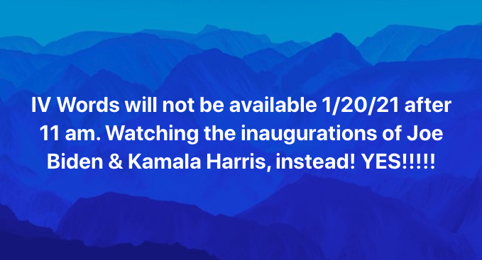 Graphic celebrating Biden-Harris inauguration