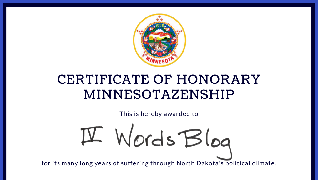 Cropped (fake) certificate of Honorary Minnesotazenship